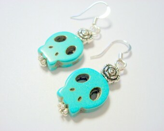 Turquoise and Silver Day of the Dead Rose and Sugar Skull Earrings