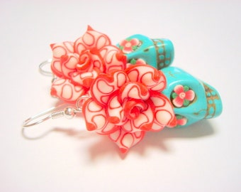 Sugar Skull Earrings Turquoise and Red Day of the Dead Roses and Sugar Skull Jewelry