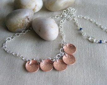 Mixed Metals Necklace Copper Sterling Silver Chopstick Textured Discs Asian Inspired - South Sea