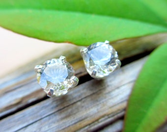 Ghostly Pale Tan Topaz Studs - Genuine Topaz Stud Earrings, Real 14k Gold, Platinum, or Sterling Silver - 4mm, 5mm, 6mm