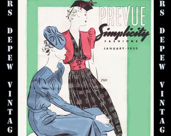 3 Vintage Sewing Pattern Catalogs Simplicity Prevue PDF From Spring, 1939 With Great Graphics -INSTANT DOWNLOAD-
