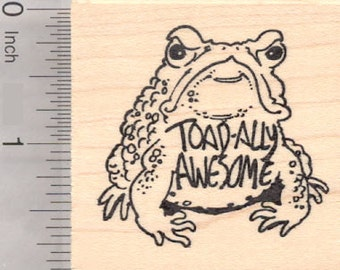 Toad-ally Awesome Toad Rubber Stamp, Teacher, Motivational H19220 Wood Mounted
