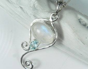 Moonstone Pendant Mermaid Tail - Rainbow Moonstone Necklace - Sterling Silver Swirl Necklace - Light Blue Wedding Necklace