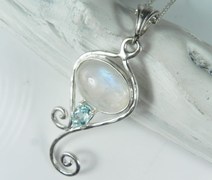 moonstone mermaid necklace rainbow moonstone pendant