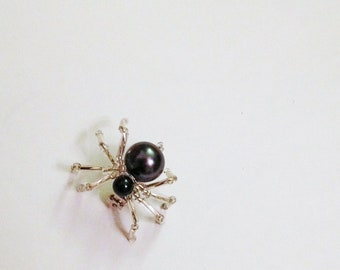 Spider Pin Black Widow - Hand Beaded Pearl - Creepy Goth Halloween - gray black