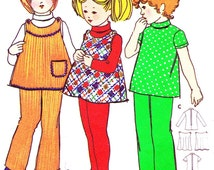 Toddler Girls A Line Jumper Pinafore Dress Tunic Pants Childrens 1970s Vintage Sewing Pattern Butterick 5935 Bust 20