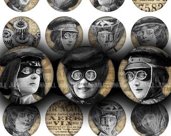 "STEAMPUNK AVIATORS - Digital Printable Collage Sheet - 1"" Circles, 25 mm - Victorian Steampunk Fashions, Vintage Women, Digital Download"