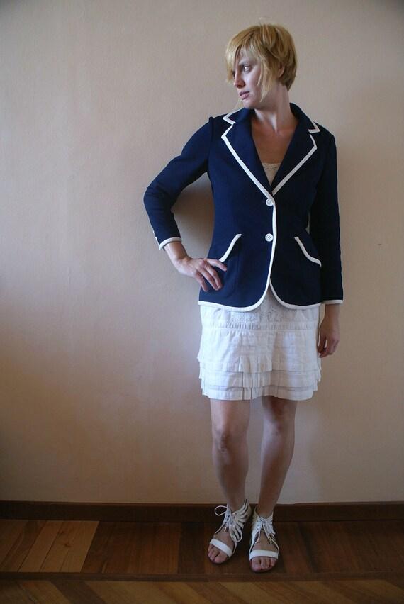Navy Blue and White Trim Wimbledon Style Preppy Blazer