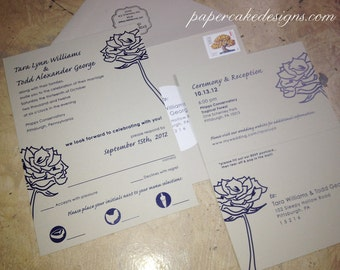 Invitation Card with tear-off RSVP Postcard  / Wedding Party Eco-Friendly Floral Graphics