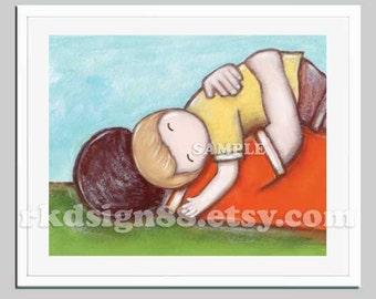 Father and son nursery art print, art for kids wall art, toddler art, children art print, boy room decor hug brown blonde - My Strength