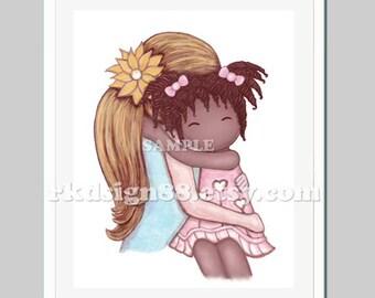 Adoption gift, girl nursery decor, girls room decor, African art, children adoption art, blonde mom African American daughter My Sunshine