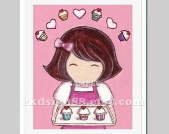 Kids wall art nursery decor girl room decor baby girl nursery art kitchen art cupcake painting She Loves Cupcakes children art prints