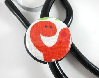 Stethoscope ID Tag Clip Charm - Orange Bronto