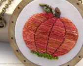 The Midwinter Pumpkin Pendant - Miniature Embroidery and Birch Wood - FREE SHIPPING