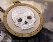 The Midwinter Skull Pendant - Miniature Embroidery and Birch Wood