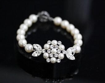 Pearl Bridal Bracelet Vintage Wedding Jewelry Art Deco Wedding Bracelet White Ivory Pearl Bracelet ALICE