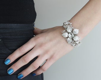 Wedding Cuff Bracelet Rhinestone Flower Cuff Bracelet Silver Bridal Bracelet  Crystal Cuff Swarovski Wedding Jewelry, KATE