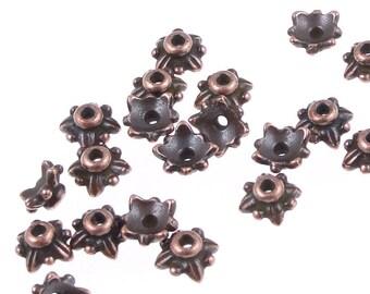 Copper Bead Caps Copper TierraCast 5mm Leaf Antique Copper Beadcaps Tierra Cast Pewter Small Copper Caps Bali Style Beads (PC109)