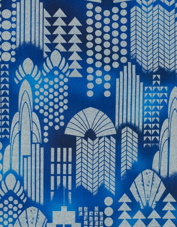 Art deco city nightlife cobalt blue metallic fabric 24 inches for Art deco fabric