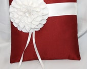 Copper Ring Bearer Pillow with Ivory Flower Brooch