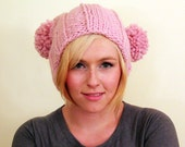 Knit Double Pom Pom Adult Hat - Blossom Pink