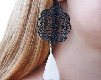 Black and White Metal Filigree Earrings with Pheasant Feathers