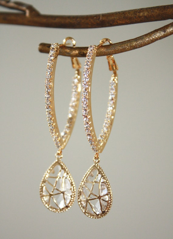 Elongated 16K Gold Hoop Earrings with inset Swarovksi Stones and Bezelled Cubic Zirconia Drops