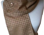 Button Scarf - Tan and Camel Houndstooth