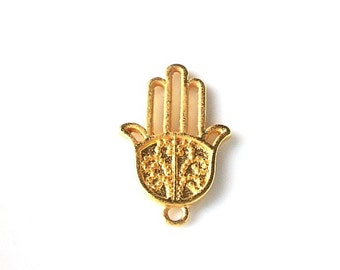 3pcs- Matte Gold plated Hand of Hamsa  charm-25x16mm-(010-039GP)