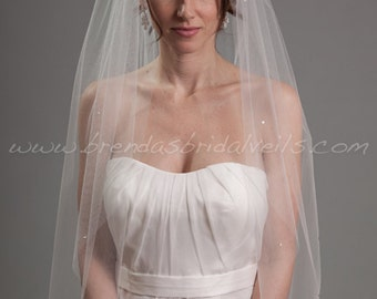 Bridal Veil Swarovski Crystal Rhinestones Scattered, Wedding Veil - Ginger Veil