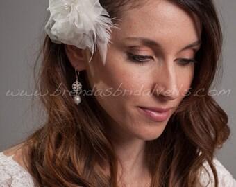 Wedding Hair Flower, Double Silk Organza Flower, Bridal Birdcage Fascinator, Wedding Hair Piece - Nevada