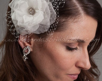 Bridal Birdcage Fascinator, Wedding Hair Flower, Wedding Hair Piece, Silk Flower - Emma