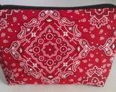 Red Western Zipper Pouch