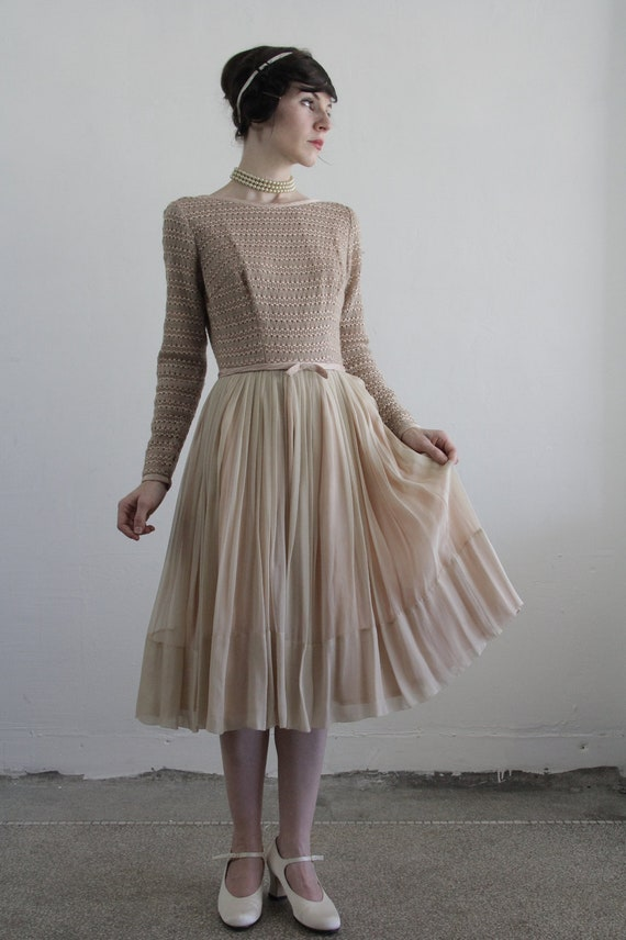 RESERVED . Vintage 50s Silk Dress . Champagne Chiffon . Woven Cocktail Gown . 1950s Ball Party Evening Formal Wear . 1950s