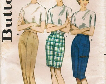 1960s Butterick 2747 UNCUT Vintage Sewing Pattern Misses' Proportioned Long Pants, Cabin Boy Pants, Bermuda Shorts  Size Waist 26