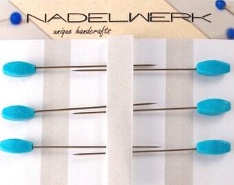 Turqouise Sewing Pins - Set of 6 medium long