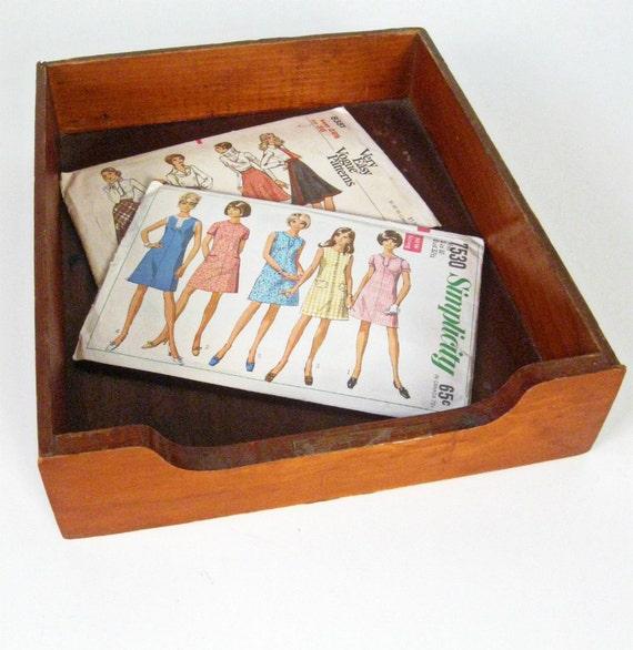 vintage wood file desk tray