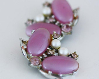 Lavender Rhinestone and Pearl Earrings - Vintage Costume Jewelry