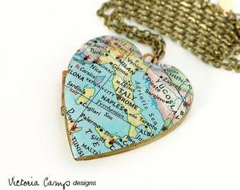 Italy Map Necklace, Large Vintage Heart Locket,  Vintage Map Jewelry, Rome, Naples, Milan, Palermo, Venice