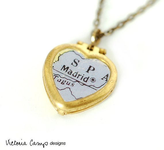 Madrid Map Necklace with Tiny Heart Locket, Spain, Travel, Map Jewelry