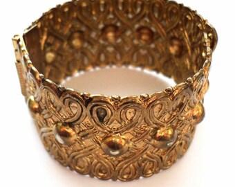Goldtone Metalwork Bohemian/Indian Vintage Antiqued Cuff Bracelet