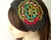 Womens Headband Winter Headband Wool Headband Winter Headband Mandala Flower Earwarmer Headband Rainbow and Charcoal - MADE TO ORDER
