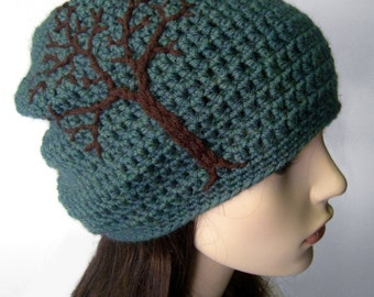 Womens Slouchy Beanie with Tree, Slouchy Tree Hat, Tree of Life Hat, Teal and Brown Hat, Wool Hat, Women Winter Hat, Boho Hat, MADE TO ORDER