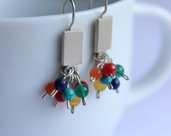 Multicolor earrings made of  Sterling silver and colorful gemstone, Dangler or Studs Cluster earrings, Fresh Vibrant colors, To wear all day
