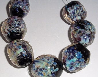MIDNIGHT GEMS Set of 7 Chunky Nugget Lampwork Beads Handmade Glass Art - Black Aqua Blue sra