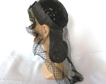 Clearance 30's 40's Vintage Black Sequin Skull Evening Cap Hat With Veil