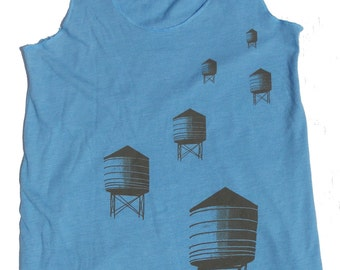 Womans Tank Top in Turquoise, Water Towers