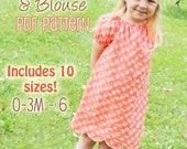 "Scalloped Hem Peasant Dress and Blouse PDF Pattern - ""Polly Peasant Dress & Blouse"""