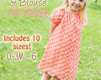"Scalloped Hem Peasant Dress and Blouse PDF Pattern - ""Polly Peasant Dress & Blouse"""