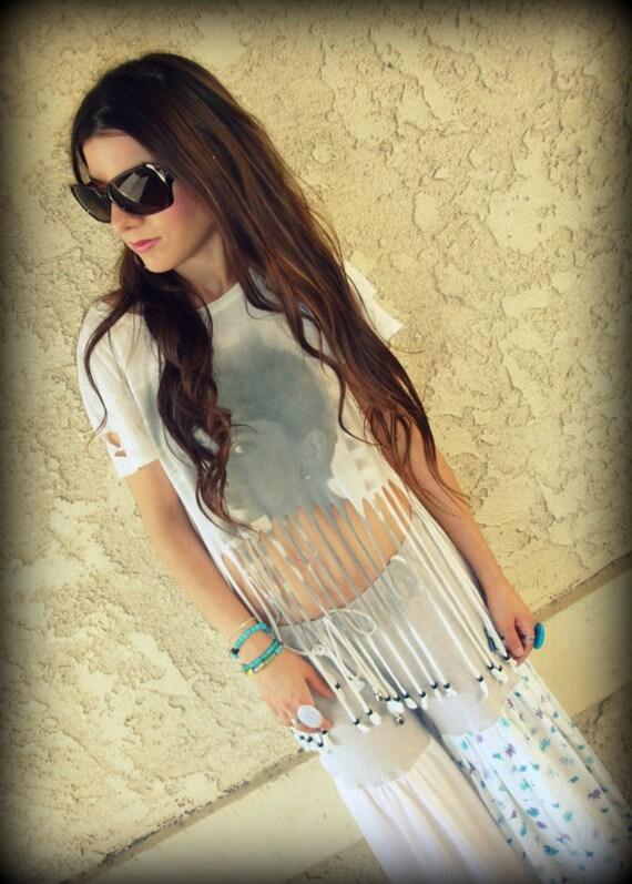 LOVE Hippie Vintage AUDREY HEPBURN Shredded Fringe Tee Shirt Top